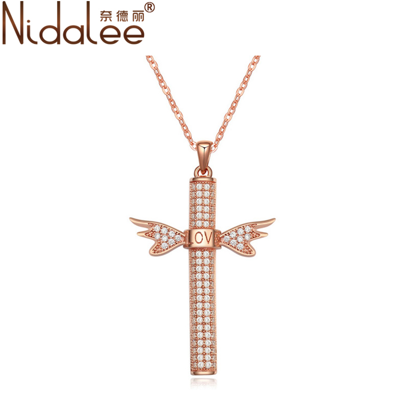 Nidalee Jewelry Fashion Necklace 2016 High Quality Zircon Cylindrical Cross Wings Women Wedding Party Necklaces Pendants CN1323(China (Mainland))