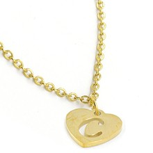 New 26 Letters A-Z Hollow Letter Initial Choker Necklace Simple Carved Heart Pendant Thin Long Chain Necklace Birthday Gifts(China)