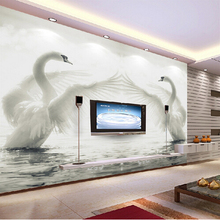 3D  romantic swans living room bedroom TV background wallpaper Canvas white Swan Art Wall Decor stereoscopic soaf wall paper