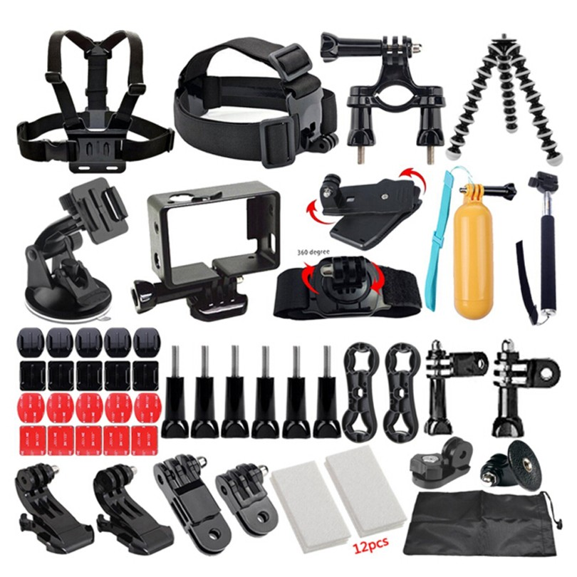 49-in-1 Outdoor Sport Camera Accessories Head Chest Mount Floating Monopod For Gopro  Xiaomi Yi Accessories Hand Monopod