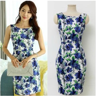 Summer Dress 2014 Elegant Retro Women Korean Slim Package Hip Sleeveless Vest Flower Printed Party - Show Your Style store