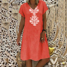 Yaz Elbiseler Robe Femme Ete 2019 Plaj Hippie Boho Artı Boyutu Elbiseler Kadınlar Için 4xl 5xl Bir Çizgi Sukienka Keten pamuklu giysiler(China)