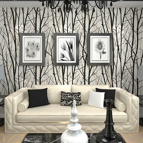 Buy textured tree forest woods wallpaper for Black and white tree wallpaper mural