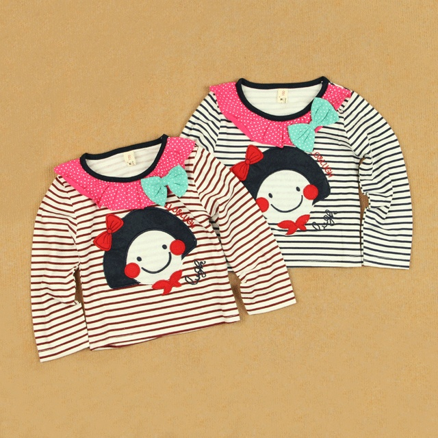 Applique allo lugh stripe spring paragraph female child newborn infant children's clothing cotton long-sleeve T-shirt 100%