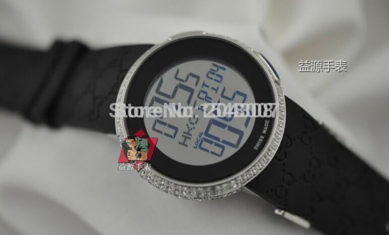 Hot Sell Luxury Brand New Womens Digital Quartz 114 White Diamond Watch YA114208 lady Sport Wrist Watches Black Rubber Band(China (Mainland))