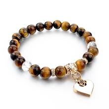 Boho Natural Stone Bracelets For Women Gold Heart Carter Love Bracelets & Bangles With Stones Ethnic Jewelry Pulseira Feminina(China (Mainland))
