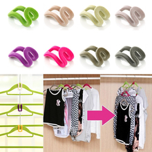 Random Colors!!! 10 pcs Home Creative Mini Flocking Clothes Hanger Easy Hook Closet Organizer(China (Mainland))