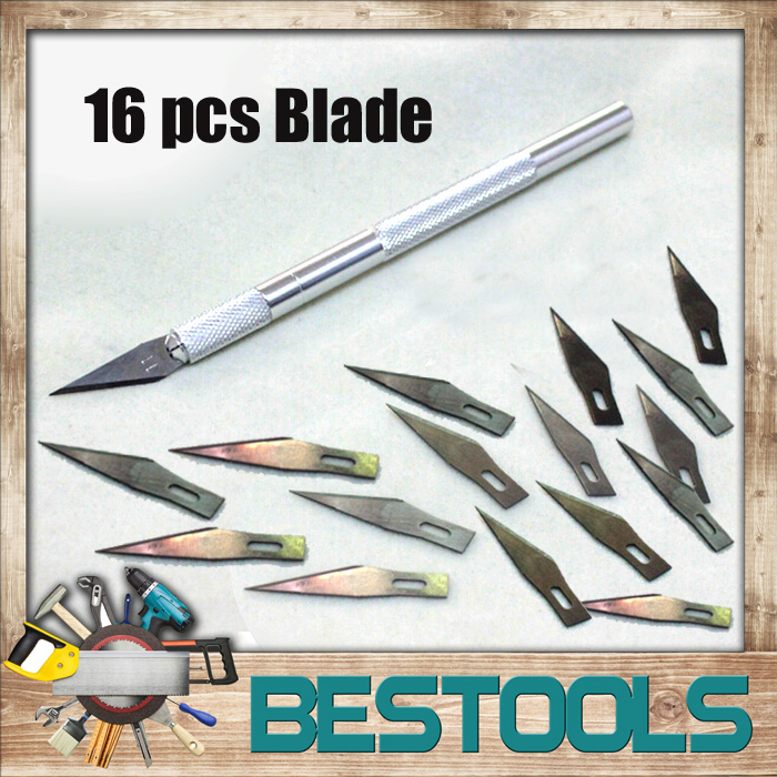 Metal Handle Scalpel Tool Craft Knife Cutter Engraving Hobby Knives 16 pcs Blade for Mobile Phone