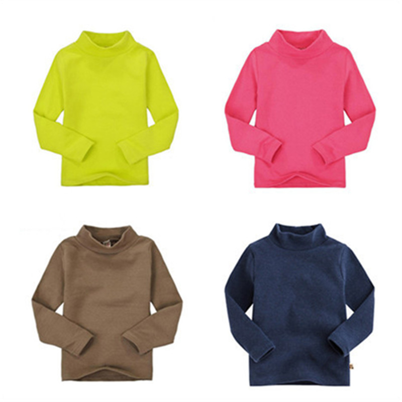 High collar boys tees Tops Children T-shirt Baby Girl turtleneck Long sleeve t shirts solid color Blouse boys shirts 1014(China (Mainland))