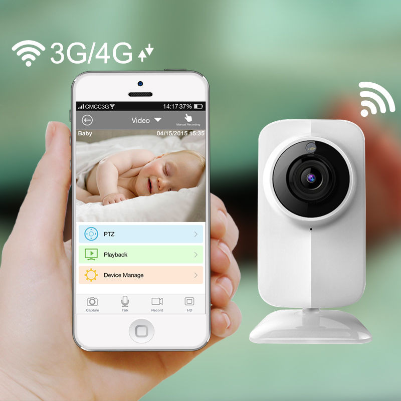 New IP Wireless Wifi Baby Monitor Video 720P Camera baby eletronic Night Vision TF slot for iPhone Android PC Free Shipping(China (Mainland))
