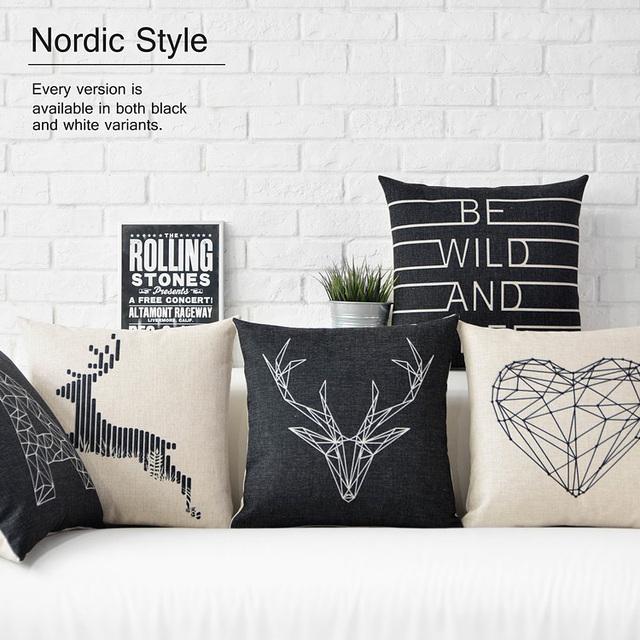 Nordic декоративные подушки decorativos, Оленей Подушки Бросить подушки для софы, геометрические подушку набор олень 45x45 случае охватывает,подушка на кресло,подушка прикол,наволочки на подушки