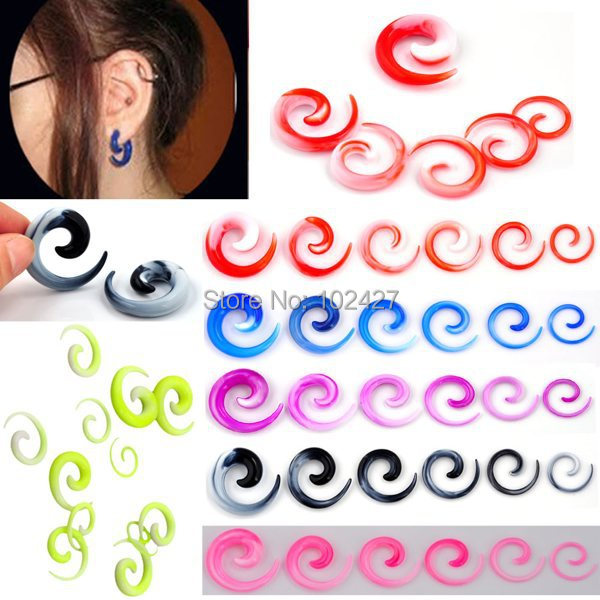 Fashion 12Pcs Ear Gauge Acrylic Carved Spiral Taper Ear Plugs Ear Expander Stretcher Flesh Piercing Jewelry(China (Mainland))