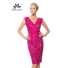 Sana 2015 New Embroidery Women Dress Famous Brand Dresses Good Quality S/XXL 6 Colors V-neck Slim Ladys Wedding Casual Dress