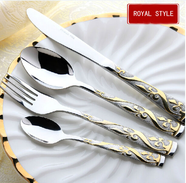 4Set=16PCS Gold Dinner Knives Stainless Steel Cutlery Set Dinner Set Fork And Spoon Flower Pattern Western Tableware Set(China (Mainland))