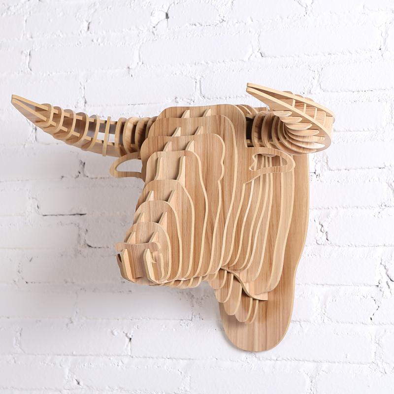 wood art bull head diy craft gift craft home decor animal