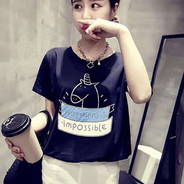 2016 женщин летняя футболка одежда о-образным шеи симпатичные мультипликационный персонаж напечатаны с коротким рукавом дна топы бесплатная доставка