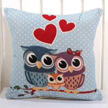 A094 New Cartoon Removable And Washable Cotton Linen Square 14 Style Owl Cushion Pillowcase for Car Home Seat Coussin Decoration(China (Mainland))