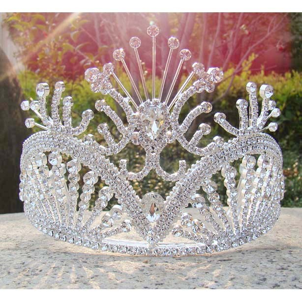 Free-shipping-large-custom-tiara-tall-pageant-Queen-tiara-Rhinestone-bridal-tiara-silver-party-girl-s