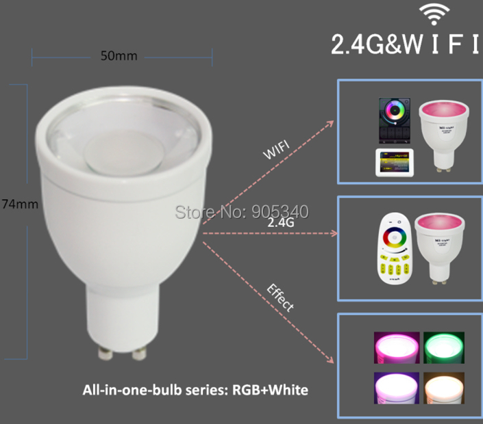 WIFI GU10 1.6million color change dimmable 2.4G led spot lamp 85-265V 4W RGB+W LED Bulb control Iphone Ipad Android mi light - SHENZHEN HI-POWER LIGHTING LIMITED store