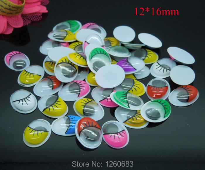 200pcs/lot Oval Random mixed Color With the Eyelashes Eye Activities Moving Eyes Plastic Eyes For Doll Toy 12*16mm(China (Mainland))