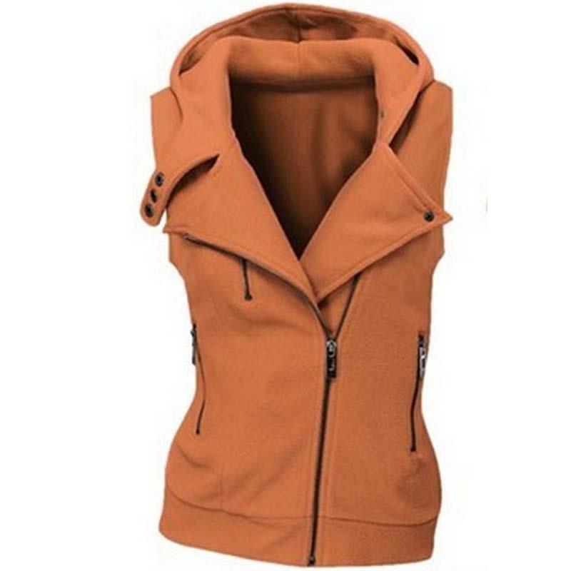 Fashion Women Hoodies Sweatshirt Zipper Bomber Sleeveless Vests Jacket Outwear Zipper Buttons Top Plus Size LJ7843M