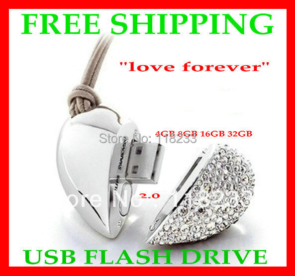 Free shipping Genuine USB STICK Real Capacity 4G 8GB 16GB 32GB 64GB Heart Pen Driver Gift USB Flash Disk Jewelry USB flash drive(China (Mainland))