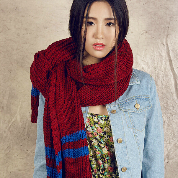 Korean version of the coarse lines long winter scarves Korean female winter big thick knit scarf wild student(China (Mainland))