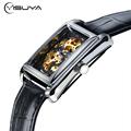 YISUYA 2017 Rectangle Watch Men Women Mechanical Hand Wind Wristwatch Skeleton Dial Elegant Bracelet Classic Male