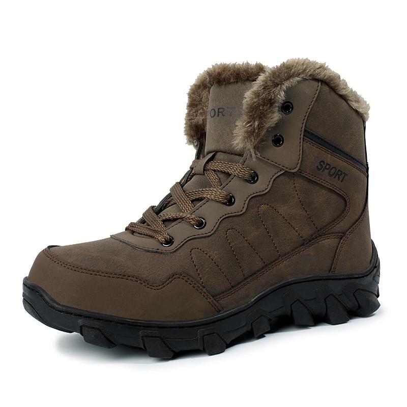 Men Winter Boots Plush Keep Warm Snow Antiskid Mens Fur Ankle Boot Man Plus Size Shoes Bot 39-46