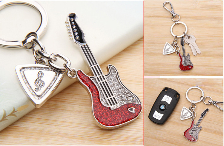 Creative Cool 3d Guitar Metal Keychain Key Ring Pendant Ornament for Handbag or Phone Graduation Gift for Women Friends(China (Mainland))