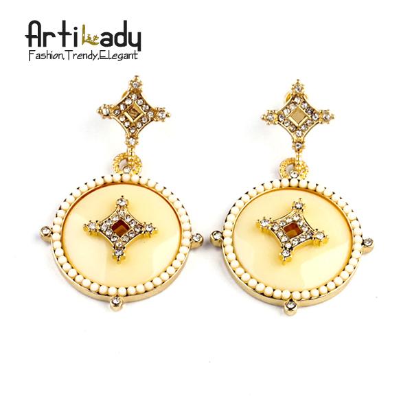 Artilady Vintage White Pearl Earrings Gold Drop Crystal Earrings  2015 New Brand Fashion Earring  Jewelry