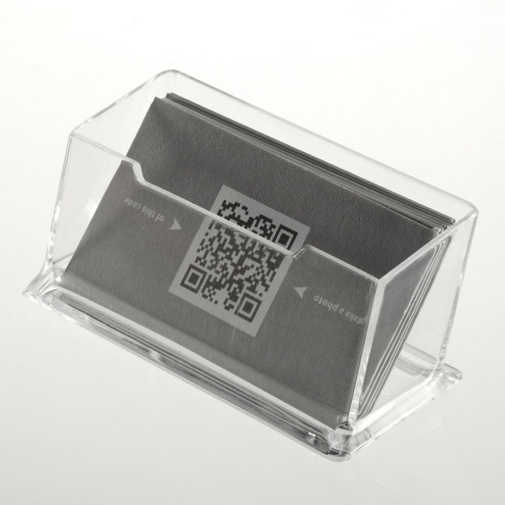 Clear desktop business card holder display stand acrylic for Business card display frame