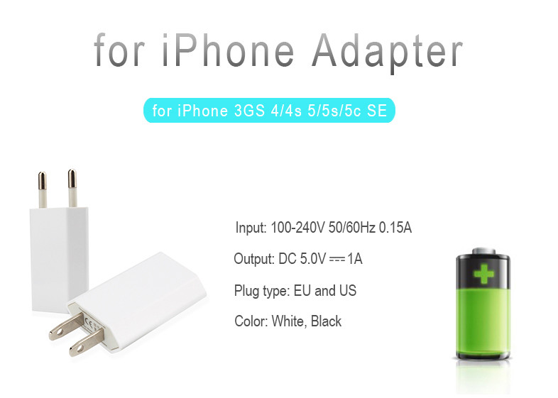 EU USA AU Canada Plug USB Power Home Wall Charger Adapter for iPhone SE 5 5S 5C 4 4S 6 6s Plus Cell Phone Power Adapter Charger