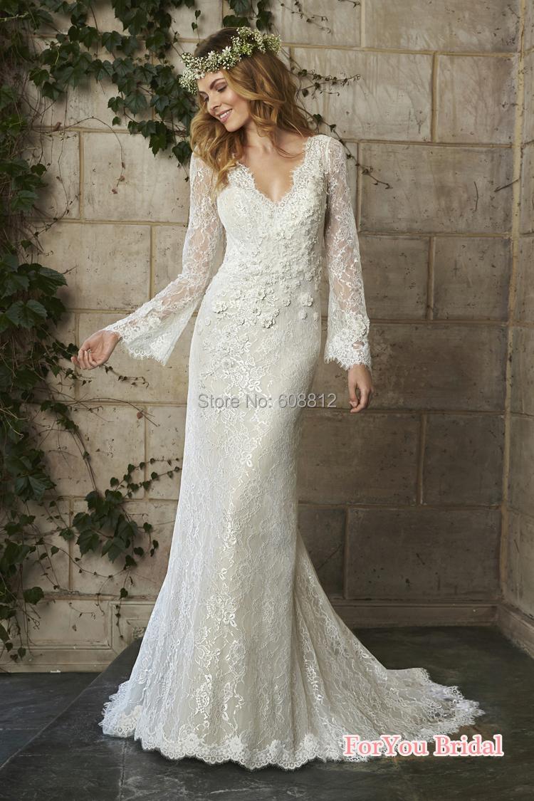 Новое поступление романтические сексуальные V старинные кружева кисть поезд vestido де noiva 2015 свадебные платья с длинным рукавом