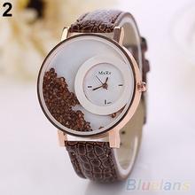 Women s Moveable Rhinestones Quicksand Dial Faux Leather Band Quartz Wrist Watch 4KMZ