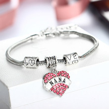 New Fashion Jewelry Family Jewelry Mom Sister Daughter Bracelet Hope Heart Shape Beads Crystal Rhinestone For Women Gifts(China (Mainland))