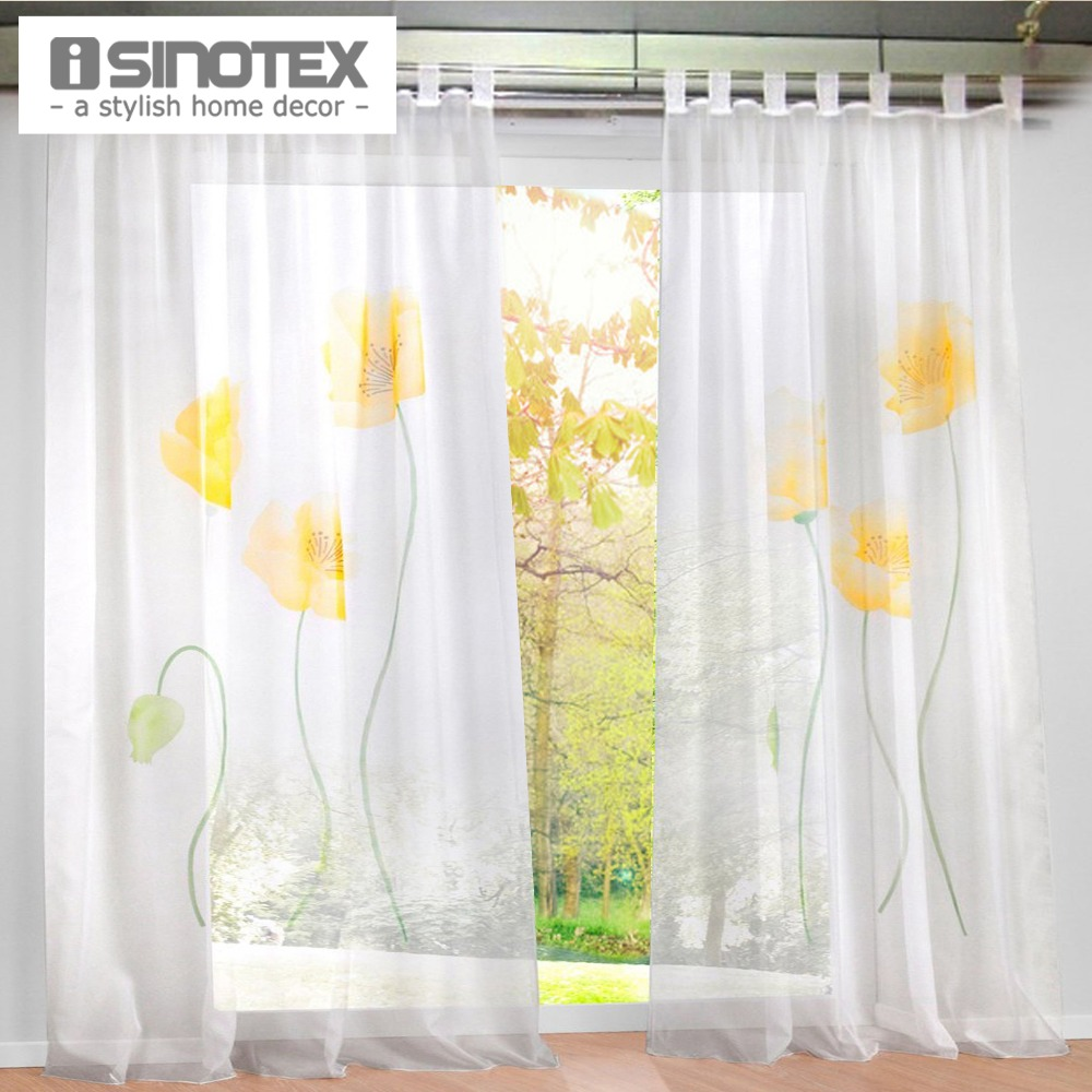 New Design Floral Printing Sheer Window Curtain Voile Screening Panel 1 PCS/Lot(China (Mainland))