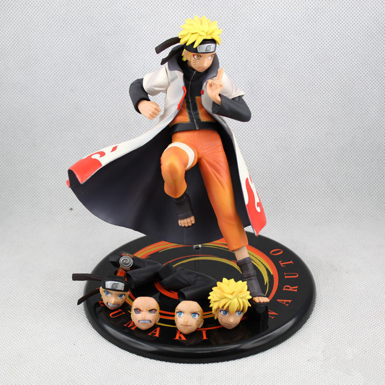 Anime Naruto Shippuden Uzumaki Naruto Heads Hands Exchange PVC Action Figure Collection Toy 17cm Free Shipping(China (Mainland))