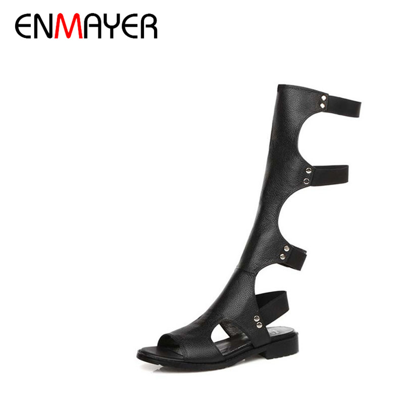 ENMAYER 2016 Women Sandals Summer Sexy Knee High Boots Elastic band Sandals Women Casual Flats Shoes Designer Boots For Women(China (Mainland))