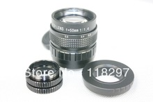 Black 50mm f/1.4 CCTV Lens for Pentax Q + C-Pentax Q dapter +2 Macro Rings(China (Mainland))