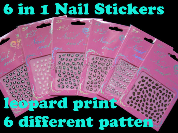 6 pcs/set,6 pattern, Self Adhesive Leopard print Nail Stickers decals nail designs Art Decoration #1039 - Packing Supplier(Bottles and Jars store)