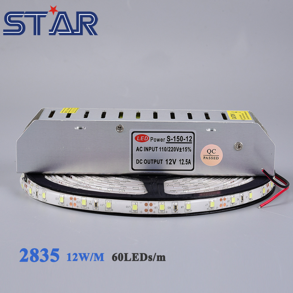 10m SMD2835 Flexible LED Strip Light 60leds/m DC12V LED Tape Ribbon Ledstrip Ra80 Waterproof + 150W Power Supply Adapter Driver(China (Mainland))