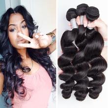 Brazilian Loose Wave Virgin Hair 3bundles Brazilian Remy Hair Bundles Loose Wave Brazilian Hair Loose Deep Wave Natural Black 1b(China (Mainland))