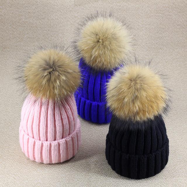 Зимние шапки для женщин Плотных Вязание Шапка лисий мех Лампы мяч Шерсть вязаная Шапка Женщины девушки Утолщение капелло vogue