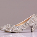 Middle heel wedding shoes with rhinestone Women RoundToe Vogue Glitter Bling Heels Party Prom Shoes Female