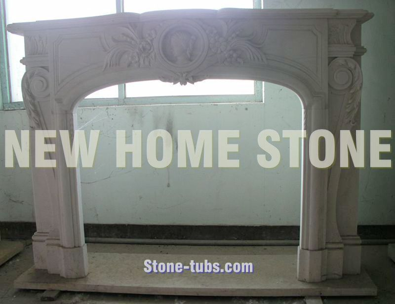 Gas fireplace mantels hand carved natural white marble stone statue sculpture shelf design ideas custom - Fireplace Manufacturer store
