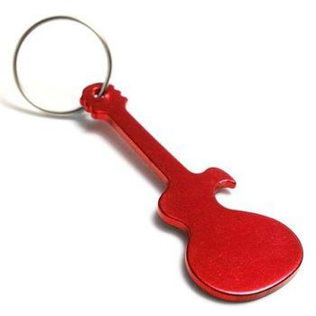 personalized guitar shaped keychain with bottle opener custom logo laser engr. Black Bedroom Furniture Sets. Home Design Ideas