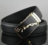 New Arrive Fashion Belt Mens Genuine Leather Belt  Man Waist  Alloy  Golden/Silver  Leopard Automatic Buckle Belts Free Shipping