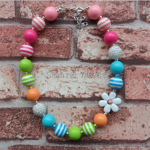! lovely mixed color bubblegum chunky flowers beads necklace girls child jewelry Handmade gumball - Jewelry Findings store