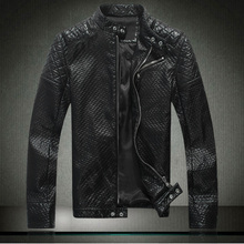 Male genuine leather clothing male skull design slim short leather jacket male motorcycle leather clothing stand collar(China (Mainland))